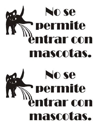 No se permite entrar con mascotas