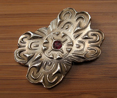 "garnet ""pin"" (maianajewel) Tags: pin brooch magnet magnetic garnet artclaysilver finesilver"
