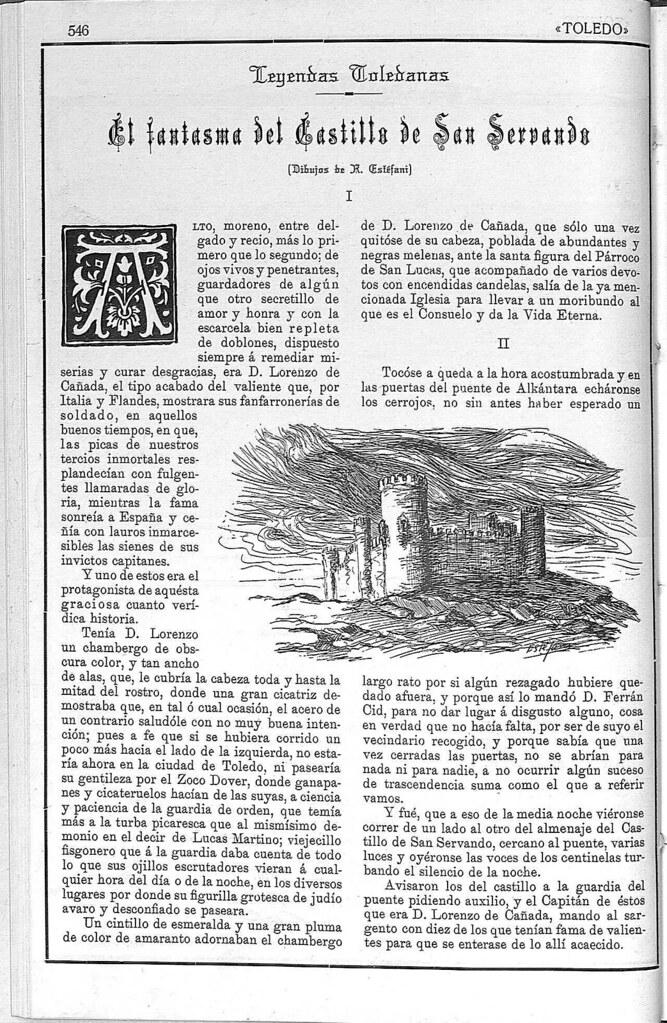 Artículo sobre el fantasma del Castillo de San Servando. Revista Toledo, enero de 1923. Página 1