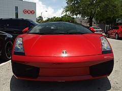 Lambo (Exotic Car Life) Tags: red emblem amazing bright florida miami south fast rental dirty suny miamibeach rare supercar southflorida sobe lambo exoticcar lilwayne lamborghinigallardospyder rarecolor exoticcarlife rossoviklamborghini regularparking
