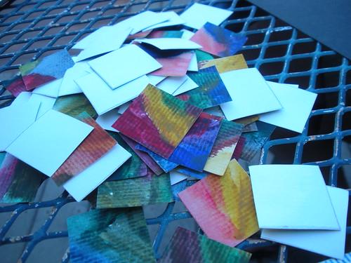 Cut up watercolor squares