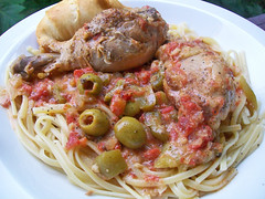 PW's Chicken with Olives (mooshee85) Tags: food woman green chicken dinner recipe with pasta crescent meal olives roll pioneer linguine drummond drumsticks pw ree