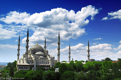 The Blue Mosque - Turkey , Istanbul (A.alFoudry) Tags: world old travel blue summer vacation cloud tree green museum clouds canon turkey landscape asia power shot islam istanbul mosque powershot architect photograph kuwait 2009 mosques islamic kuwaiti q8 abdullah عبدالله الكويت kuw g10 q80 اسطنبول تركيا xnuzha alfoudry الفودري abdullahalfoudry foudryphotocom powershotg10