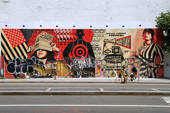 mayday eyesore (Luna Park) Tags: nyc streetart ny newyork mural manhattan destruction soho obey houston lunapark mayday shepardfairey adek deitch eyesore