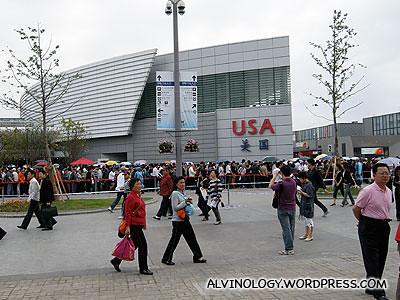USA pavilion which had a long queue despite the unimpressive exterior