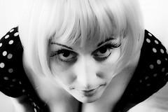 Bad Romance (Francesca Donatelli) Tags: woman selfportrait me face self canon ego 50mm donna eyes lashes makeup io francesca occhi polkadots e wig autoritratto bianco nero viso pois volto trucco parrucca 50d ciglia parrucco finte volevoessereladygaga misivedonolefiasche