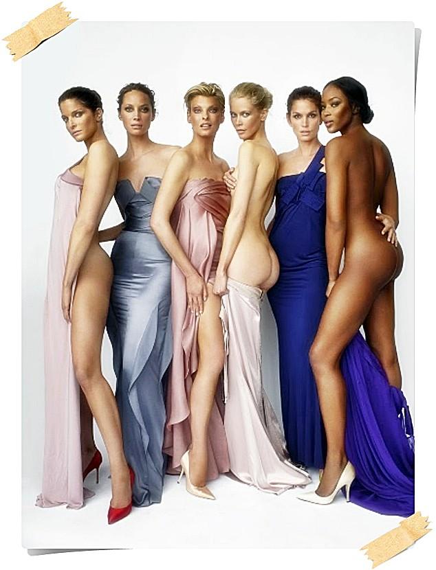 Stephanie Seymour, Christy Turlington, Linda Evangelista, Claudia Schiffer, Cindy Crawford e Naomi Campbell
