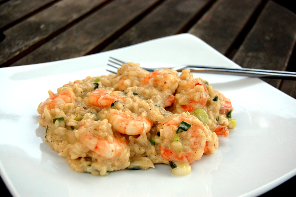 Risotto with prawn, lemon, spring onion & basil