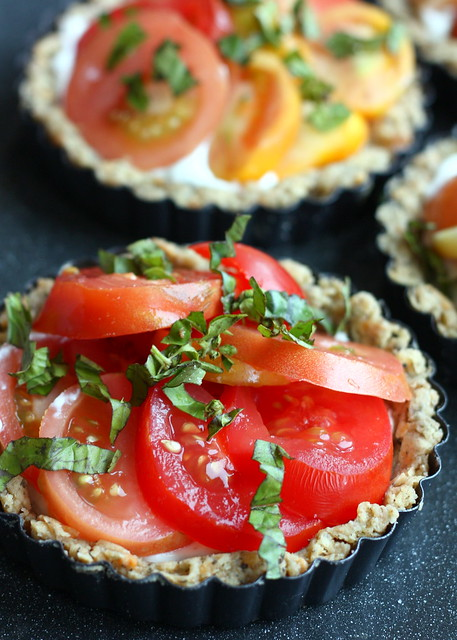 ... of a Tart: Tomato Goat Cheese Tarts in an Herb Parmesan Crust