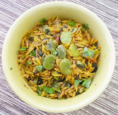 Saffron Orzo with Spring Vegetables @ <a href=