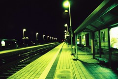 light up the rail (d3n3v3r) Tags: green film analog 35mm germany iso100 xpro nikon rail mai lantern agfa 2010 ctprecisa 28105mm nikonf65 1456 tamaron heitersheim