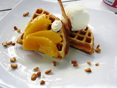 Peach and Cashew Nut Waffle