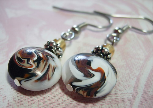 UT Camo Swirled Lentil Earrings