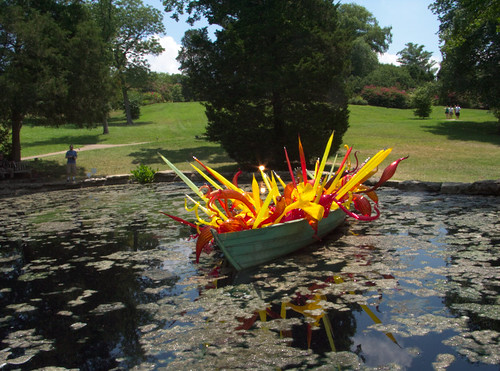 Chihuly at Cheekwood, Boat in Lily Pond, 3rd View