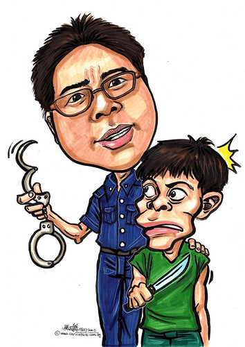 Police caricature A3