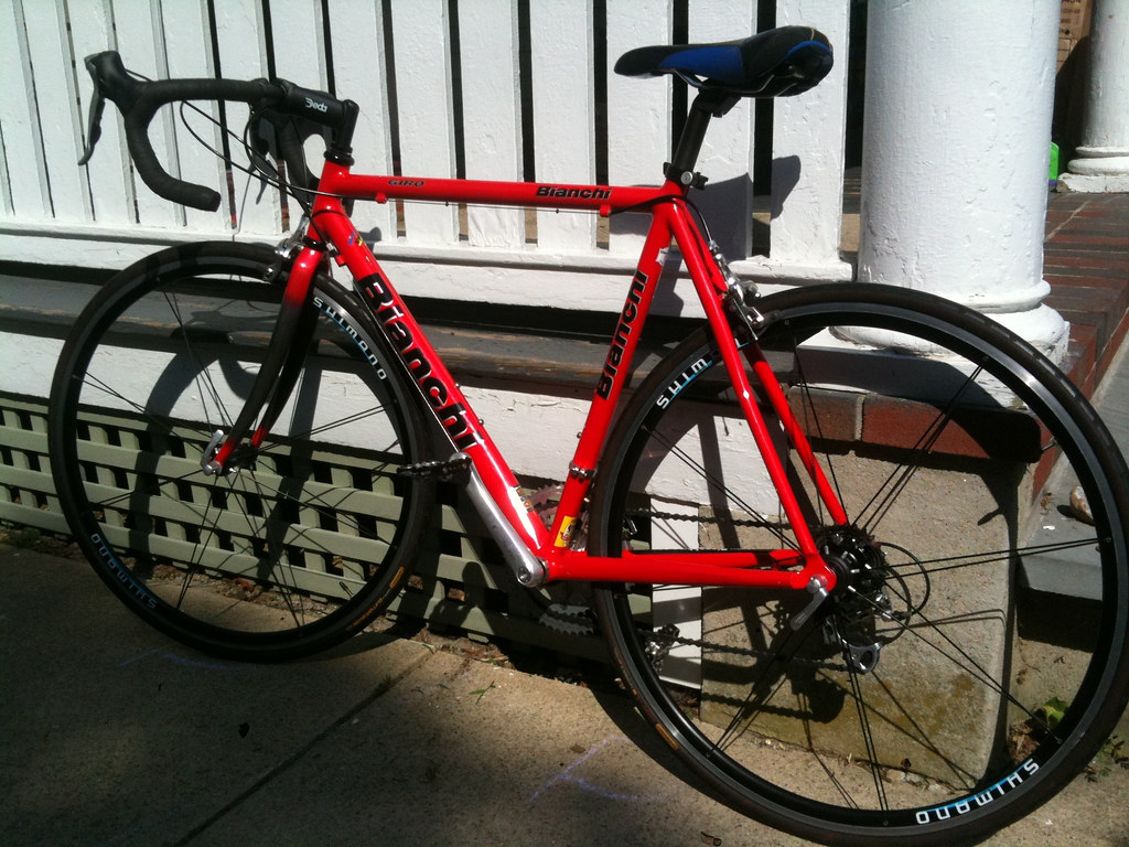 Carrie's Red Bianchi Road Bike