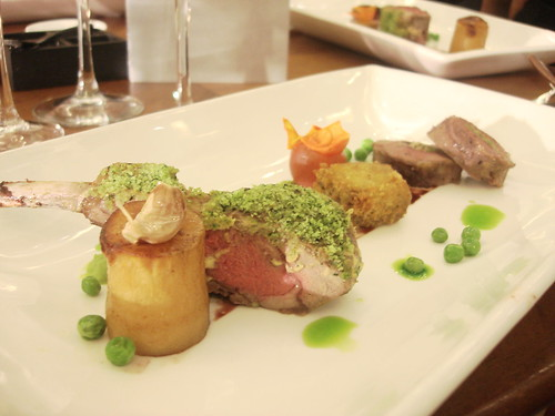 Assiette of Lamb with Potato Fondant, Summer Peas, Mint Oil and Shiraz Reduction-1