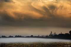 Fog Layer, Wilson Avenue Beach (rjseg1) Tags: orange chicago beach fog skyline clouds wilson segal rjseg1