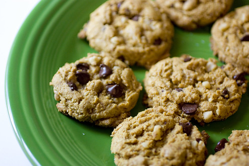 Spelt Walnut Dark Chocolate Chip Cookies