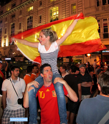 Spanish football fans, London