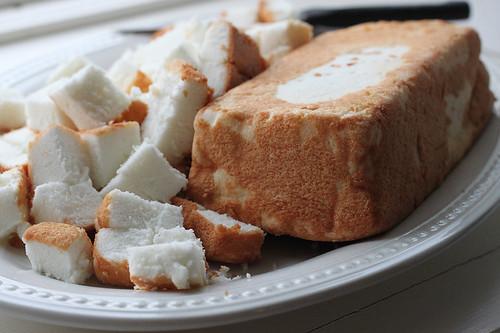 Cube the angel food cake