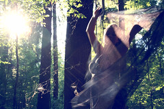 Then She Appeared (oOTheSmallOneOo) Tags: light portrait sun tree girl forest ray branches magic fabric flare appear
