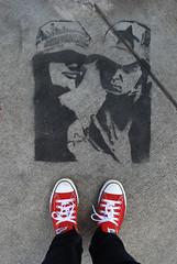 Hipsters Unite! (Emily Irelan) Tags: red selfportrait art feet oregon portland graffiti stencil shoes sidewalk alberta converse