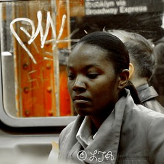 Woman on subway - new york LJAphotography (LJA PHOTOGRAPHY) Tags: life street travel family ireland portrait people urban blackandwhite italy usa newyork abstract black reflection london art love nature smile birds animals architecture portraits canon buildings children wonder washingtondc african vibrant candid character fear humor perspective 5thavenue couples lovers voyeur belguim passion innocence africanamerican bruges lonely priest manual padre isolated timeless journalist brugges lonesome thebigapple counrty ttv movementcolour ljaphotography ljaphotograph