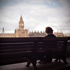 Disillusion (NyYankee) Tags: uk boy guy london 120 6x6 film westminster thames mediumformat housesofparliament bigben pentaconsixtl frontpageexplore carlzeissjenabiometar80mmf28