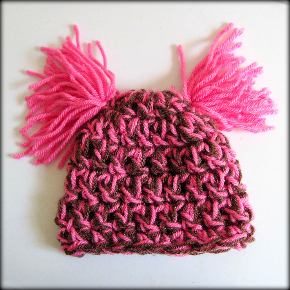 Pink and Brown Newborn Baby Beanie Hat with Two Fringy Pom Poms- Perfect Photography Prop