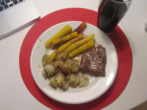 steak, carrots, potatoes, soda