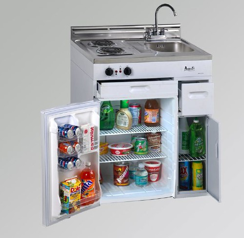 COMPACT KITCHEN AVANTI WHITE OPEN