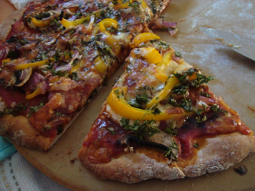 chipotle mushroom pizza with chorizo and fresh herbs