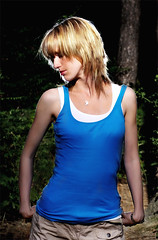 Claire - Location Shoot (Forrest) (Daz85) Tags: camera blue shadow fashion photoshop hair photography photo shadows post skin pentax flash smooth picture highlights clothes burn processing dodge highlight 48 metz strobe af1 smoothing flashgun dodgeburn dodgeandburn strobist k100d metz48af1