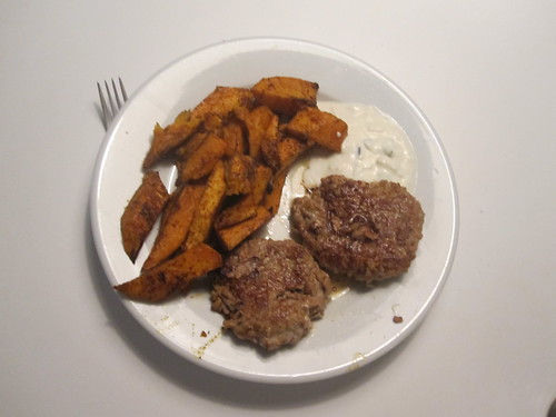 turkey patties with tzatziki, sweet potato oven-baked fries