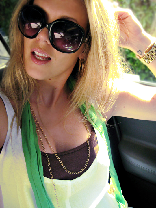 maegan+summer+big black sunglasses+green scarf+dark