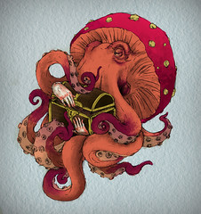 ... tattoo treasure chest octopus tesoro amanita pulpo cofre muscaria