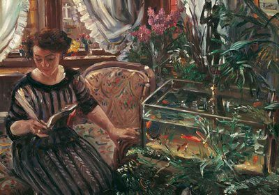 Woman Reading near a Goldfish Tank, 1911
