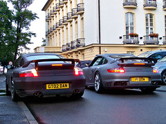 Porsche 996 & 997 GT2 (AdriiiiiV) Tags: white black english cars beach car germany grey lights hotel back amazing nice polska grand front mat exotic turbo porsche polen 24 coupe supercar polonia built 2010 exotics supercars combo brittish 996 991 997 worldcars