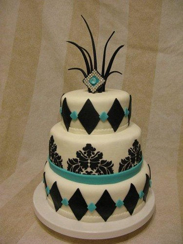 teal and black 3 tiered wedding cake 003