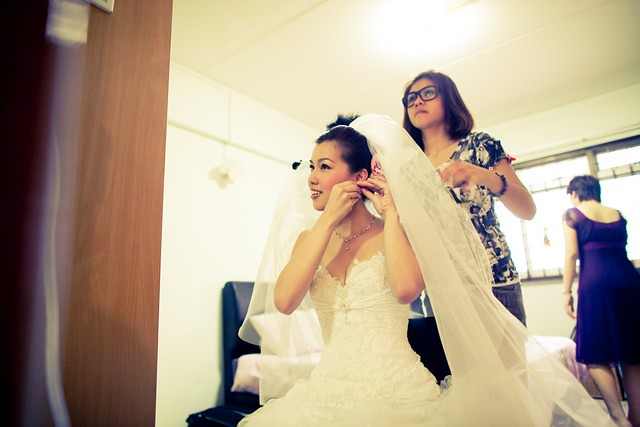 Bride getting ready