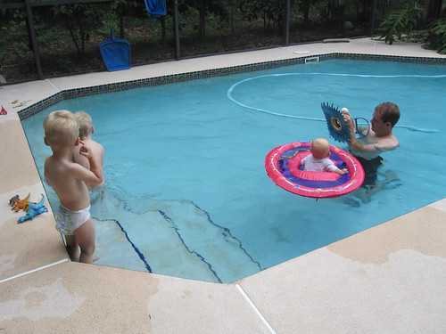 Playing in the Pool on Mommy's Birthday