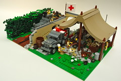 Battalion Aid Station (1) (Dunechaser) Tags: usa france army us unitedstates lego military ambulance worldwarii american armor ww2 dodge m3 apc medic normandy invasion diorama halftrack aidstation allied m3a1 wc54 medicalcorps brickarms battalionaidstation foitsop