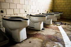 The Thrones (Universal Stopping Point) Tags: ohio dusty decay row dirty tiles weathered dust toilets dayton publicrestroom abandonedschool noprivacy abandonedpoopers