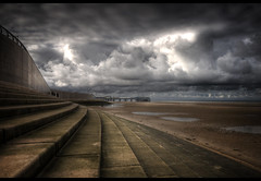 A break in the cloud.....'Front page Explore'! (jetbluestone) Tags: light sea beach clouds sand blackpool hdr centralpier hdraward
