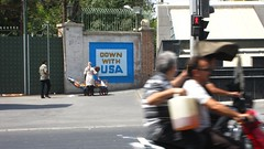 """Down with USA"" sign"
