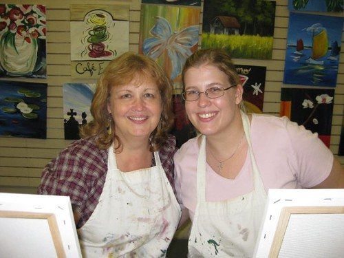 Mom and I at a painting class