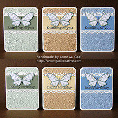 Butterfly Lace Stationery Set - 1st Half (prospurring (Anne)) Tags: blue green thanks butterfly ranger tan butterflies textile fawn hazel happybirthday sakura sunburst birthdays coloredpencils prismacolor heroarts stardust thankyous fiskars thinkingofyou diamondsintherough jetblack stonewash bestwishes swissdots cornerrounder stationeryset archivalink cuttlebug provocraft bazzillbasics waterproofinks divineswirl prospurring borderpunch cg130 borderpunches cl371 essentialmessages august2010a clingset clearglittergelpen