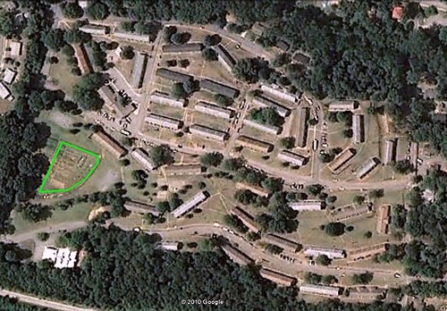Pisgah View Apartments from above, Peace Garden marked at left (via Google Earth, marking by me)