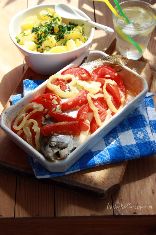 Baked trout with tomato and oregano